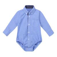 Baby Hemd-Body Langarm mit Kragen Strampler Bodysuit Festlich Taufe Anzug Hemd