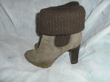DANIEL WOMEN'S BROWN LEATHER/TEXTILE SLIP ON ANKLE BOOT SIZE UK 5 EU 38  VGC