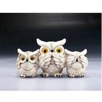 See Speak And Hear No Evil White Owls Figurine New