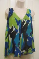 VINCE CAMUTO ELEGANT  Blue Green Black Polyester Sleeveless Blouse Size L