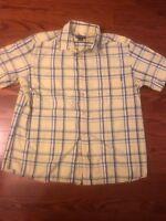 Men's size XL WOOLRICH Yellow Blue Plaid SS Button Up Camp Shirt Lightweight