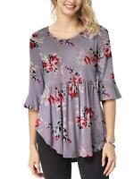 iGENJUN Women's Scoop Neck 3/4 Ruffle Detailed Sleeve Purple Floral Top Blouse S
