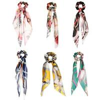#QZO Retro Print Ribbon Hair Rope Women Scrunchie Ponytail Elastic Rubber Band