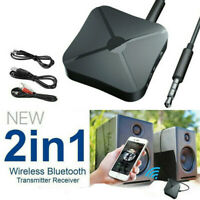 Bluetooth 5.0 Wireless Audio Aux Transmitter & Receiver 2 IN-1 3.5mm Adapter =