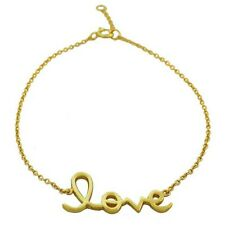 925 Sterling Silver Yellow Gold Plated Love Heart Inscription Chain Bracelet