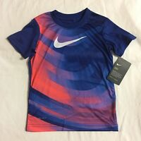 Nike Boys Short Sleeved Shirt Size 2T, 3T, Dri-Fit, Blue, Orange $24 Athletic