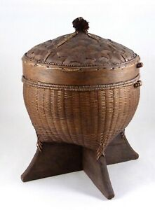 """Vintage Chinese Basket Footed Lidded Hand-Made Finely Woven Brown 12"""" Tall"""