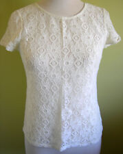 Ladies Womens Short Sleeve Top Cream Lace Summer Blouse Shirt Emerson Size 8