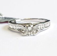 Round Diamond Engagement Ring with Baguette on side , 18k white gold