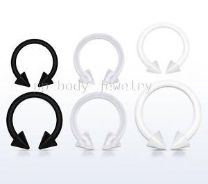 "2pcs. Bio Flex Spike Horseshoe Circular Barbell Labret Ear Septum 16G 5/16"" 3/8"""