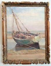Década de 1930 francés impresionista aceite barco de pesca en la Playa Pintura Antigua