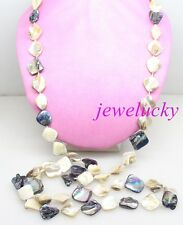 New jewelry necklace 45 inches Mix white black baroque mother of pearl shell