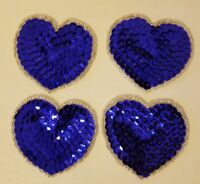 "Lot of 4 Vintage Small 2"" Blue Heart Beaded Sequined Appliques Sew On Crafts"