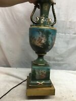 Vtg  Mid Century Ceramic Table Lamp Cupid Cherub Picture 34in tall Green Lamp