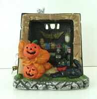 """Vintage Halloween Ceramic Haunted House Ghost Light CREEPY Witch House Village7"""""""