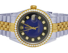Rolex Datejust Dos Tonos 18K / Acero 36MM Azul Viñeta Dial Diamante Reloj 2.5CT