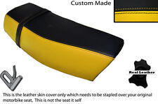 BLACK & YELLOW CUSTOM FITS SUZUKI DR 400 S 80-82 DUAL LEATHER SEAT COVER
