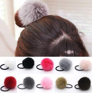 Pom Pom Fur ball bobbles bobble elastics hair head band ponytail head hair band