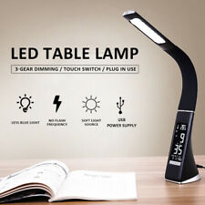 Adjustable Reading Bedside LED Study Desk Table Lamp Calendar Clock Touch Light