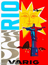 Rio de Janeiro Brazil Varig South America Vintage Travel Poster Advertisement
