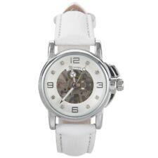 WINNER Fashion Leather Skeleton Women Automatic Mechanical Wrist Watch L5M6