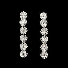 Sterling Silver 925 Bright White Lab Created Diamond Stick Earrings