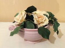 BN Natural Look SilksCream Rose&Leaves Floral Arrangement in a Pink Ceramic Vase