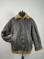 Vintage B3 Leather Sheepskin Bomber Pilot Flight Shearling Jacket Mens WW2 Zip