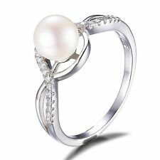 7mm  White Freshwater Pearl & Cubic Zirconia Pure Sterling Silver Ring Size 7