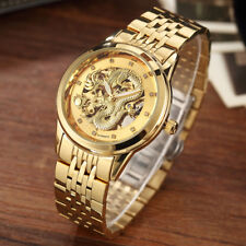 Gold Dragon Automatic Mechanical Men Watch Full Steel Luxury Male Wristwatch
