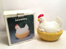 More details for chicken sitting on nest basket bowl with lid agghona wila design