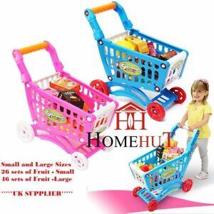 Shopping Kids Childrens Trolley cart Play Set Toy Gift Plastic Fruit 52 PCS