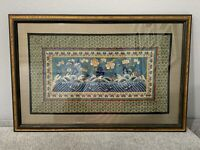 Vtg Antique Chinese Silk Textile Embroidery Bats in Waves Above Waves Floral Dec