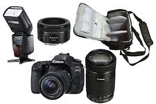 NEW Canon 80D + 18-55, 55-250, 50mm + Camera Bag + Speedlite Flash - UK DISPATCH