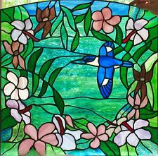 HIBISCUS, FRANGIPANI & FOREST KINGFISHER leadlight art stained glass front door