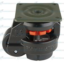 """GD-60F BLACK - Leveling Casters (4 pieces) - 2"""" Nylon Wheel - Leveling Pad 550#"""