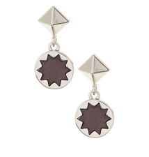 House of Harlow 0541 Brown Small Leather Sunburst Drop Earrings