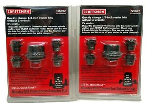 Craftsman Router Bit 1 Connector and 4 Adaptor Kit 91197 New Plastic Yellowed