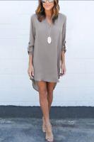 LUYVLE SIZE XL GREY CASUAL CHIFFON CURVED DRESS  NWOT