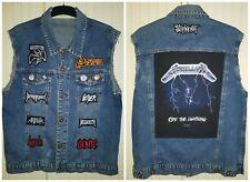 Classic Heavy Metal Rock Blue Denim Sleeveless Cut Off Battle Jacket Size Small