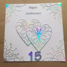 Handmade Crystal Wedding Anniversary card Happy 15 th Wedding Anniversary