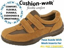 Mens Tan Faux Leather Mesh Touch Close Straps Trainers Casual Shoes Loafers