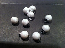 10x WHITE PEARL SHANK BUTTONS, WEDDINGS 8MM