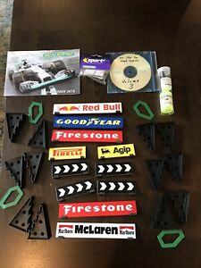 Scalextric slot car accessories, Signs, track supports, side track clips