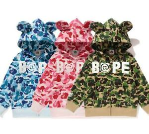 2020 A Bathing APE Bape Kids Boy Girl Bear Ear Jacket Sweatshirts Hoodies
