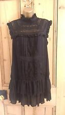NEW LOOK Vintage Style High Neck DRESS Ruffle Lace Black Tunic Size UK 12