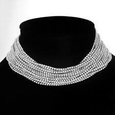 Crystal Diamante Silver Necklace Choker Collar Statement Fashion Women Jewellery