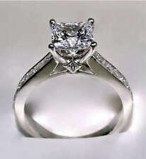 Certified Engagement Wedding Fine Ring 3.2Ct Princess Cut Diamond 14k White Gold