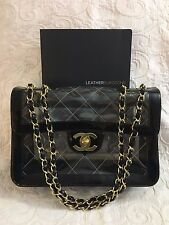 Chanel Jumbo Flap Black Large CC Gold Clear Naked Classic Patent Vinyl RARE