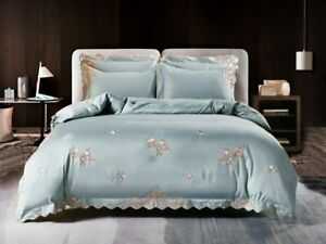 Chic Embroideried Duvet Cover Egyptian Cotton Bedding Set Bed Sheet Bedclothes